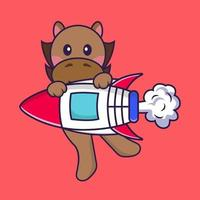 Cute horse flying on rocket. vector