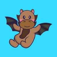 Cute horse is flying with wings. vector