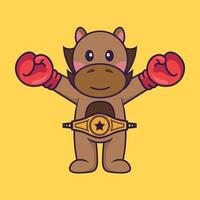 Cute horse in boxer costume with champion belt. vector