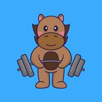Cute horse lifts the barbell. vector