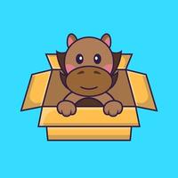 Cute horse Playing In Box. vector
