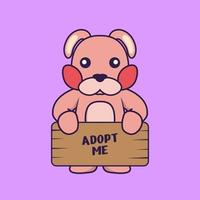 Cute rabbit holding a poster Adopt me. vector