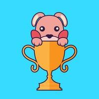 Cute rabbit with gold trophy. vector