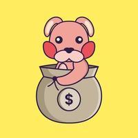 Cute rabbit in a money bag. vector