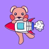 Cute rabbit flying on rocket. vector