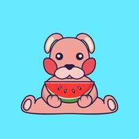 Cute rabbit eating watermelon. vector
