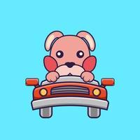 lindo conejo está conduciendo. vector