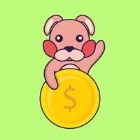 Cute rabbit holding coin. vector