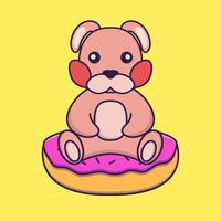 Cute rabbit is sitting on donuts. vector