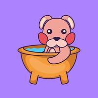 Cute rabbit taking a bath in the bathtub. vector