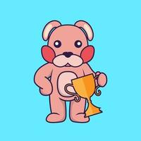 Cute rabbit holding gold trophy. vector