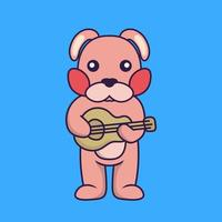Cute rabbit playing guitar. vector