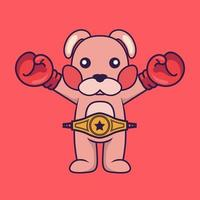 Cute rabbit in boxer costume with champion belt. vector