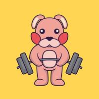 Cute rabbit lifts the barbell. vector