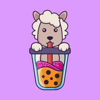 Cute sheep Drinking Boba milk tea. vector