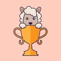 Cute sheep with gold trophy. vector