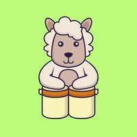 Cute sheep is playing drums. vector