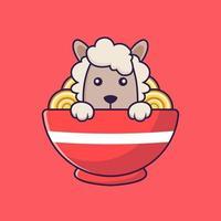Cute sheep eating ramen noodles. vector