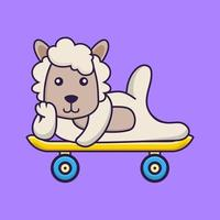 Cute sheep lying on a skateboard. vector