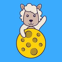 Cute sheep is on the moon. vector