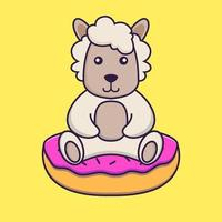 Cute sheep is sitting on donuts. vector