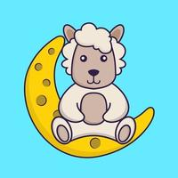 Cute sheep is sitting on the moon. vector
