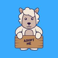 Cute sheep holding a poster Adopt me. vector