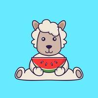 Cute sheep eating watermelon. vector