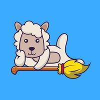 Cute sheep lying on Magic Broom. vector