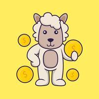 Cute sheep holding coin. vector