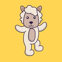 Cute sheep is dancing. vector