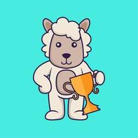 Cute sheep holding gold trophy. vector