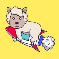 Cute sheep flying on rocket. vector