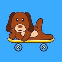 Cute dog lying on a skateboard. vector