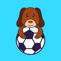 Cute dog playing soccer. vector