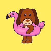 lindo perro con boya flamingo. vector