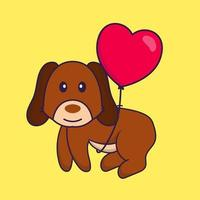 Cute dog flying with love shaped balloons. vector