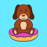 Cute dog is sitting on donuts. vector