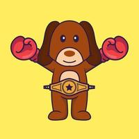 Cute dog in boxer costume with champion belt. vector