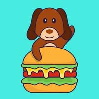 Cute dog eating burger. vector