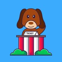 Cute dog is being a ticket keeper. vector