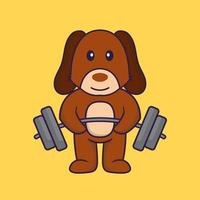 Cute dog lifts the barbell. vector