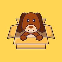 Cute dog Playing In Box. vector