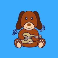 Cute dog playing guitar. vector