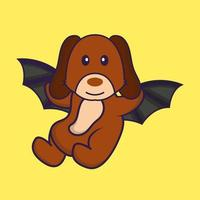 Cute dog is flying with wings. vector