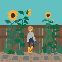 Woman working in the garden. Flat hand drawn vector illustration