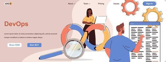 banner web devops para materiales promocionales en redes sociales vector