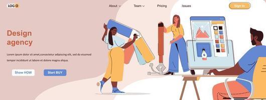 Design agency web banner for social media promotional materials vector