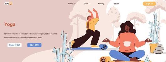 banner web de asanas de yoga para materiales promocionales de redes sociales vector