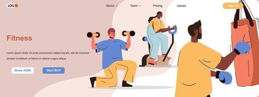 banner web de entrenamiento físico para materiales promocionales en redes sociales vector